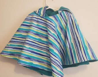 Carseat Poncho - Blue and Teal stripes