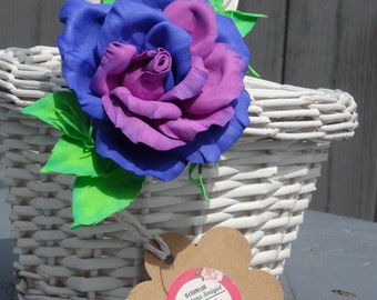 Blue and purple rose with bright green leafs,Foam flower, hair accessories, handmade Rose