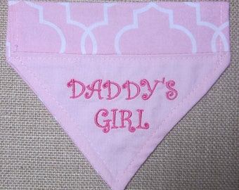 Daddys Girl Fathers Day gift for dog lover Embroidered reversable over the collar dog bandana