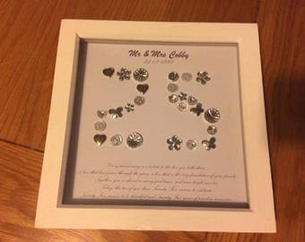 silver anniversary, 25th wedding anniversary, married for 25 years, framed button art, number embellishment, 25 years of marriage, special