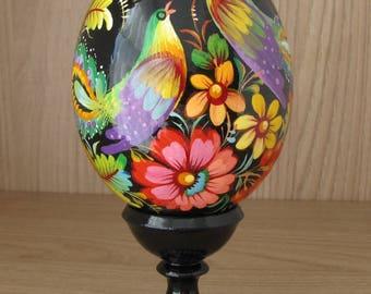 Exclusive handpainted egg, Ukrainian Easter Egg, Petrykivka patterns - folk art
