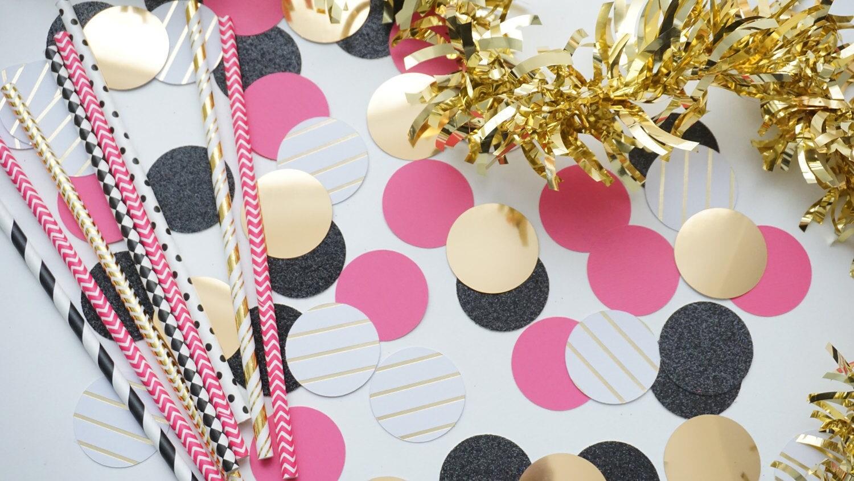 C rculo negro rosa y dorado confeti confeti de boda for Decoracion de cumpleanos rosa y dorado