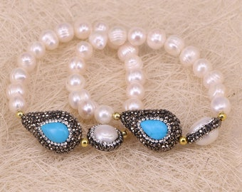 Pave Rhinestone Blue Stone and Pearl Connector Beads Bracelets, Nature Fresh Water Pearl Beaded Bracelets