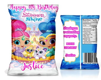 Shimmer and Shine Chip Bag Favor, party supply------YOU PRINT