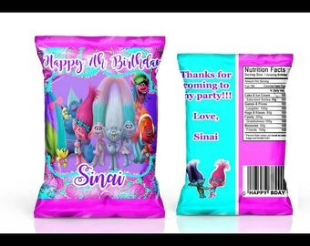 Trolls Party Favors---Chip bags for your birthday party.