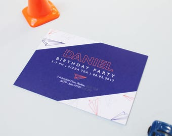 Paper Plane Birthday Invite | Digital File | Kids Birthday Party Invitations | Birthday Party Invites | Aeroplane Invitation | Download