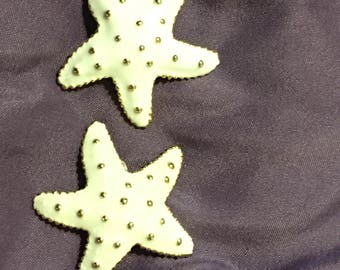 Vintage Starfish ceramic off white gold clip ons