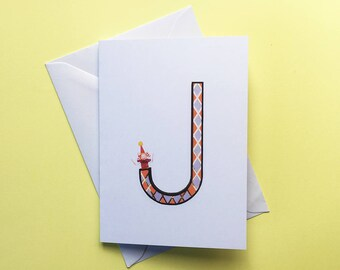 Alphabet Greeting Card • Monogram Card • J is for Jack in the Box