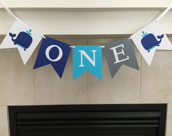 Whale One Banner, Whale Birthday Banner, One Birthday Banner, First Birthday, 1st Birthday, Boy Birthday, Photo Prop, Cake Smash