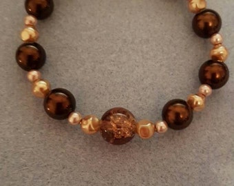 Copper and brown bracelet