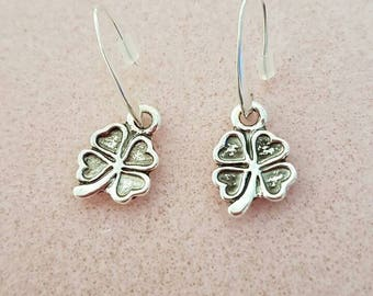 4 leaf clover silver plated earrings