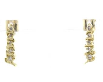 Diamond Ladies Dangle Earrings Elegant 14K Yellow Gold 0.46 CTW