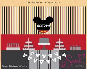 Personalized Mickey Mouse Printable Backdrop, Mickey Mouse Photobooth Sign, Mickey Mouse Poster 60x40, Mickey Dessert Table Backdrop Sign