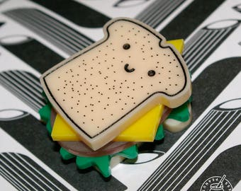 Sandwich - Magnet / Pin badge , cheese , lettuce