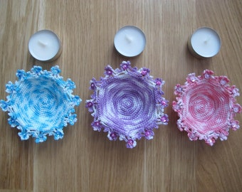 Tealight candles, set of 3, pink, blue and purple, handmade by fairy M1 Creations crochet