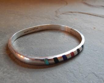 Sterling Silver with Inlaid Stones Vintage Taxco Bracelet, oval bracelet, cuff bracelet, multi-stone bracelet, colorful stone bracelet