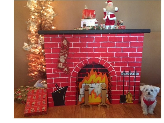 New christmas cardboard fireplace decoration standee w for Kamin aus pappe