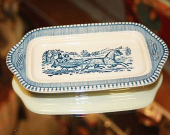 Currier and Ives Butter Dish