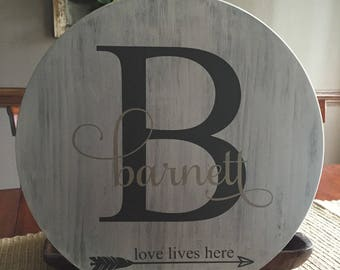 Round monogram wooden sign