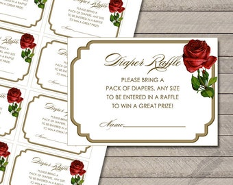 Rose Baby Shower Diaper Raffle Tickets, beauty and the beast, digital, printable, instant download