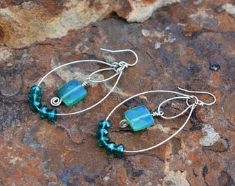 hand hammered oval hoops with turquoise quartz