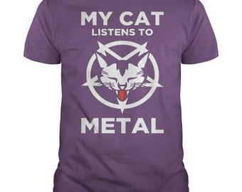 MY CAT LISTENS To Metal T-shirt.Cat lovers T-shirt.Heavy Metal T-shirt.Cat T-shirt.Heavy Metal tee.Heavy Metal Fan Gift.Funny Cat Tee.