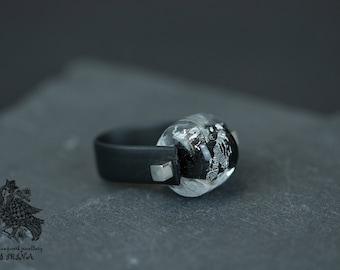 Art Nouveau ring leather black unique