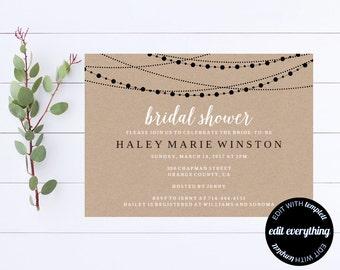 Kraft Bridal Shower Invitation Template - Bridal Shower Invite - Printable Invite Wedding Shower - Printable Bridal Invitation - Kraft Paper