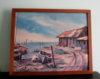 Boat Scraper  Jordan Vintage Lithograph Art Print  Museum Print Editions Man with a Boat House near Lake