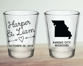 Custom Missouri Wedding Favor Shot Glasses