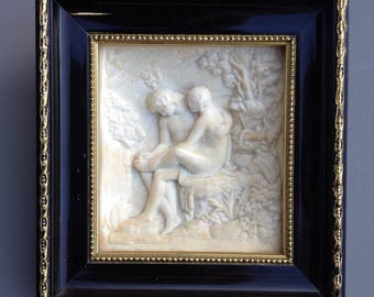 Bas relief on limestone from petrifying springs of France. Antiquity like scene. Apollo and Aphrodite. small frame. sculpture on limestone