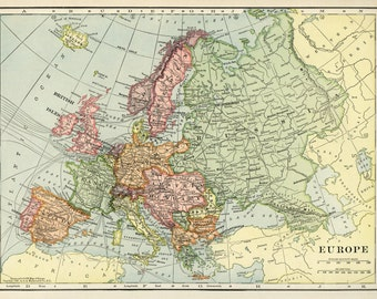 Hammond's Vintage Map of Europe 1901