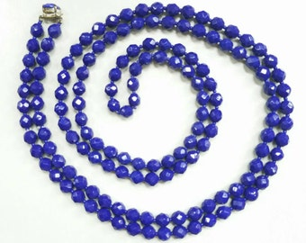 "Gorgeous 55"" Royal Blue Faceted Glass Beaded Necklace"