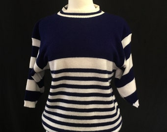 80's Navy Striped Knit