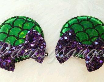 Sparkle Bow Mermaid Ear Clips