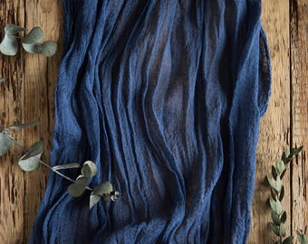 Navy Gauze Runner for Weddings and Events, Centerpieces Runner, Cheese cloth Runner, Table Hand Dyed runner, Cotton Scrim, Cheesecloth