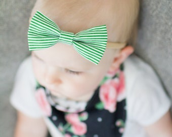 Green Stripe Bow Headband