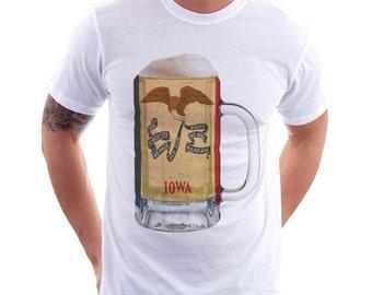 Iowa State Flag Beer Mug Tee, Unisex, Home State Tee, State Pride, State Flag, Beer Tee, Beer T-Shirt, Beer Thinkers, Beer Lovers Tee