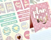 Foil Planner Stickers, Pink and Mint, Beautiful Planning, Patterned, Sticker Flags, Love Stickers, Gold Foil, Sheet of 22 Stickers