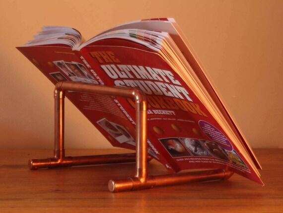 Copper pipe cook book stand recipe book holder kitchen - Cream recipe book stand ...
