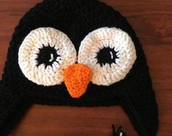 Crochet penguin hat - Penguin accessory - Gift for him - Gift for her