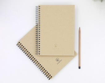 A5 Bronze Color Spiral Fountain Pen friendly Graph Notebook with Pockets, Kraft Paper, Simple Design.