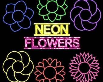 Neon Flowers Instant Download Digital Clip Art Commercial Use - CA002