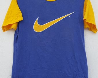 Vintage Nike Ringer T-Shirt Yellow Blue Color Large Size for Adult