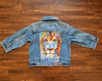 Lion Hand Painted Toddler Denim Jacket