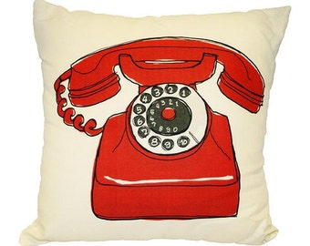 Vintage Red Telephone Linen Pillow