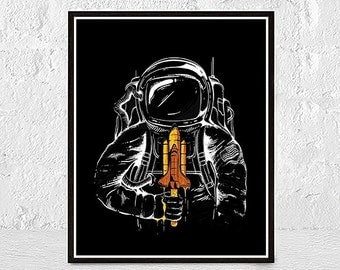 astronaut print, space print, space wall art, astronaut poster, astronaut art, outer space, space art, boys room, Cosmos Print, Gift for Him