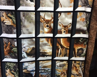 Deer in Attic Window Quilt Kit Buck and Doe Realtree Outdoors Wildlife Hunting Hunters Trees Leaves Fall Autumn Pre Cut Quilt Kit Pattern
