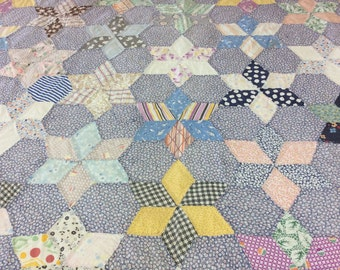 1900's Vintage Star Hand Pieced Hand Quilted Quilt Farmhouse Style