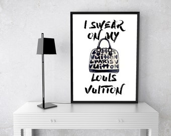 PRINTABLE I Swear On My Louis Vuitton Watercolour, Art Print, Black, gold LV Handbag Fashion Books Watercolor Fashion Illustration